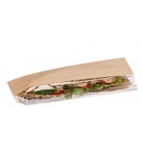 Sac sandwich kraft brun ingraissable fenêtre décalée