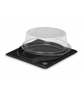 Boîte ronde fond noir + couvercle transparent