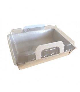 Panier repas chauds carton + couvercle - Idéal pour cuire vos préparation, les présenter puis les réchauffer au micro-onde