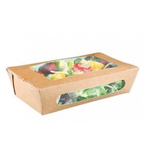 Boîte salade kraft avec fenêtre bio
