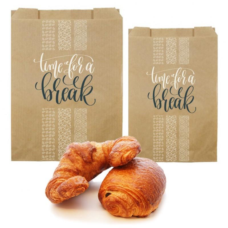 Sac croissant kraft brun 35g personnalisé