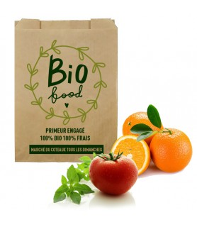 Sac papier kraft fruits personnalisé - sac primeur personnalisé pas cher