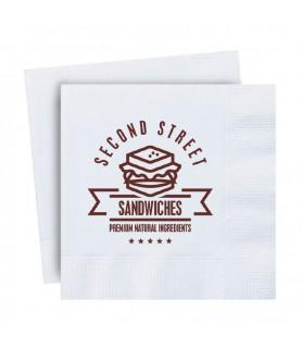 Serviette personnalisée en papier pas cher - snacking, vente-à-emporter
