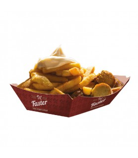 Barquette cartonnée personnalisée - nuggets, snacks, plats chauds