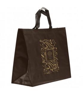 Sac cabas polypro tissé personnalisé 42+19x35 chocolat- sac cabas pas cher personnalisable