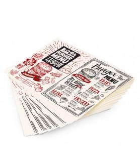 Papier anti-gras kraft blanc 35g +PE 9g personnalisé - emballage boucherie prix bas