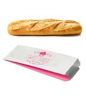 Sac baguette kraft blanchi Emballage Personnalisé Boulangerie pas cher