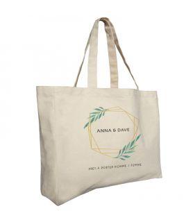 Tote bag coton 42+12x35 cm- écru avec soufflets personnalisable