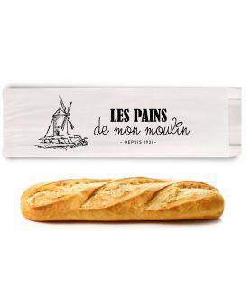 Sac baguette personnalisée papier kraft blanc - emballage boulangerie