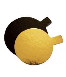 Languette or/noir ronde , emballage patisserie