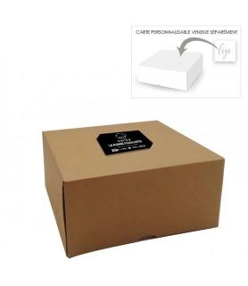 Boîte pâtissière avec encoche permettant d'y glisser une carte personnalisée