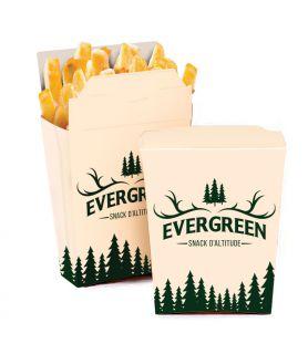 Pochette à frites à emporter - support carton blanc
