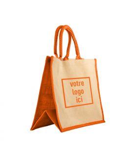 Sac cabas jute & coton personnalisé orange