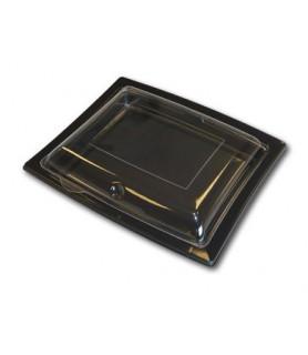 Ravier noir + couvercle transparent