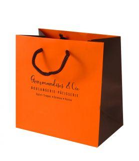 Sac cabas luxe orange/brun personnalisé