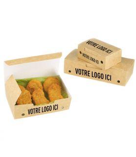 Boîte plats chauds avec trous - support kraft / blanc