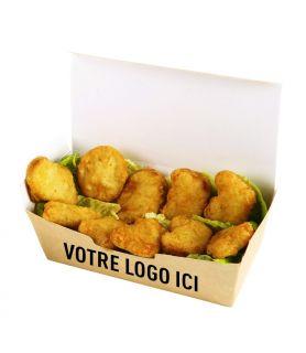 Boîte plats chauds personnalisée - support brun / blanc