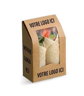 Boite wraps et tacos personnalisée support brun /intérieur blanc
