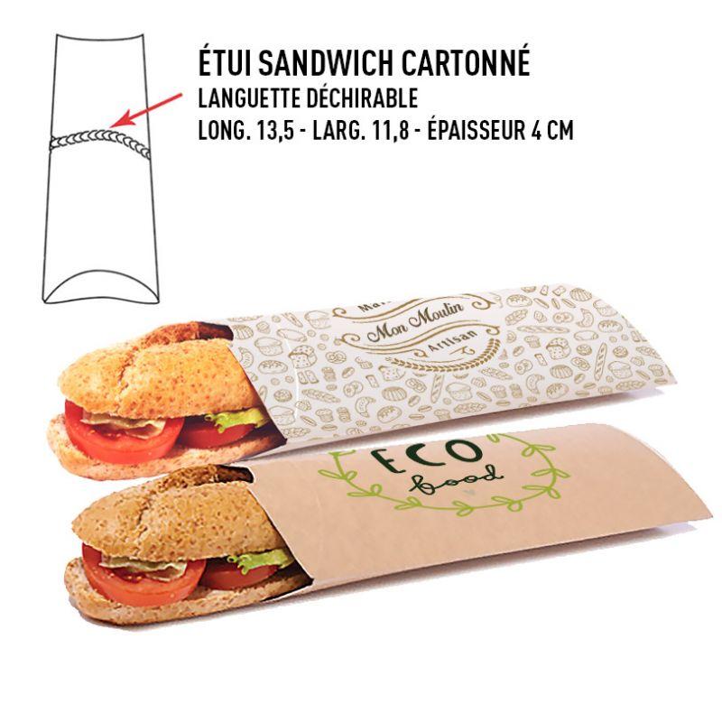 Etui sandwich cartonné personnalisé - sac sandwich carton panini