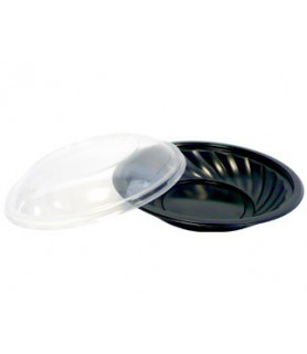 Assiette ronde noire + couvercle transparent