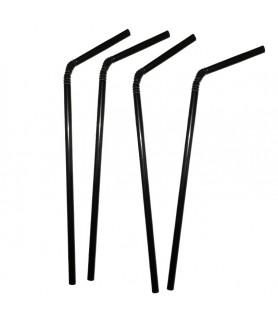 Pailles flexibles noires