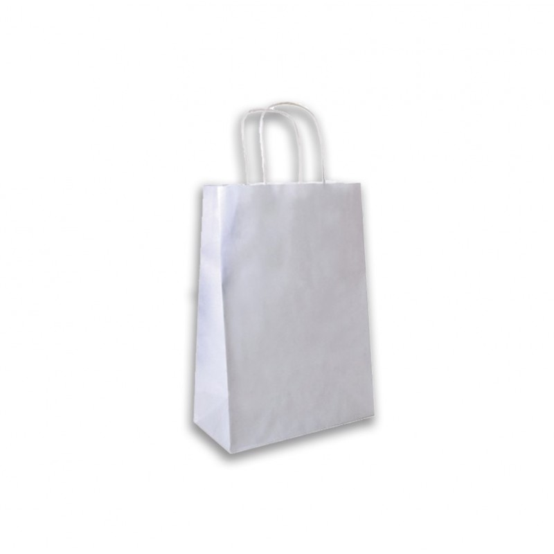 Sacs cabas kraft blanc poignées torsadées vente a emporter