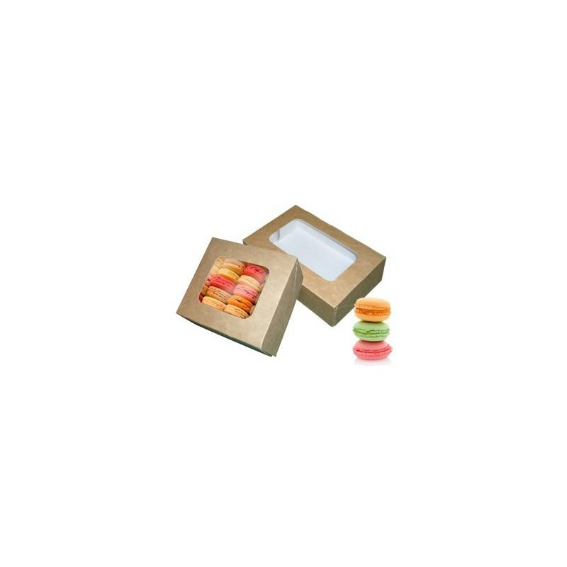 Boîtes macarons kraft brun fenêtre